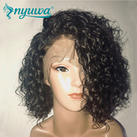 NYUWA Full Lace Human Hair Wigs Short Curly Full Lace Wigs Pre Plucked Natural Hairline With Baby Hair Brazilian Remy Hair 10 14