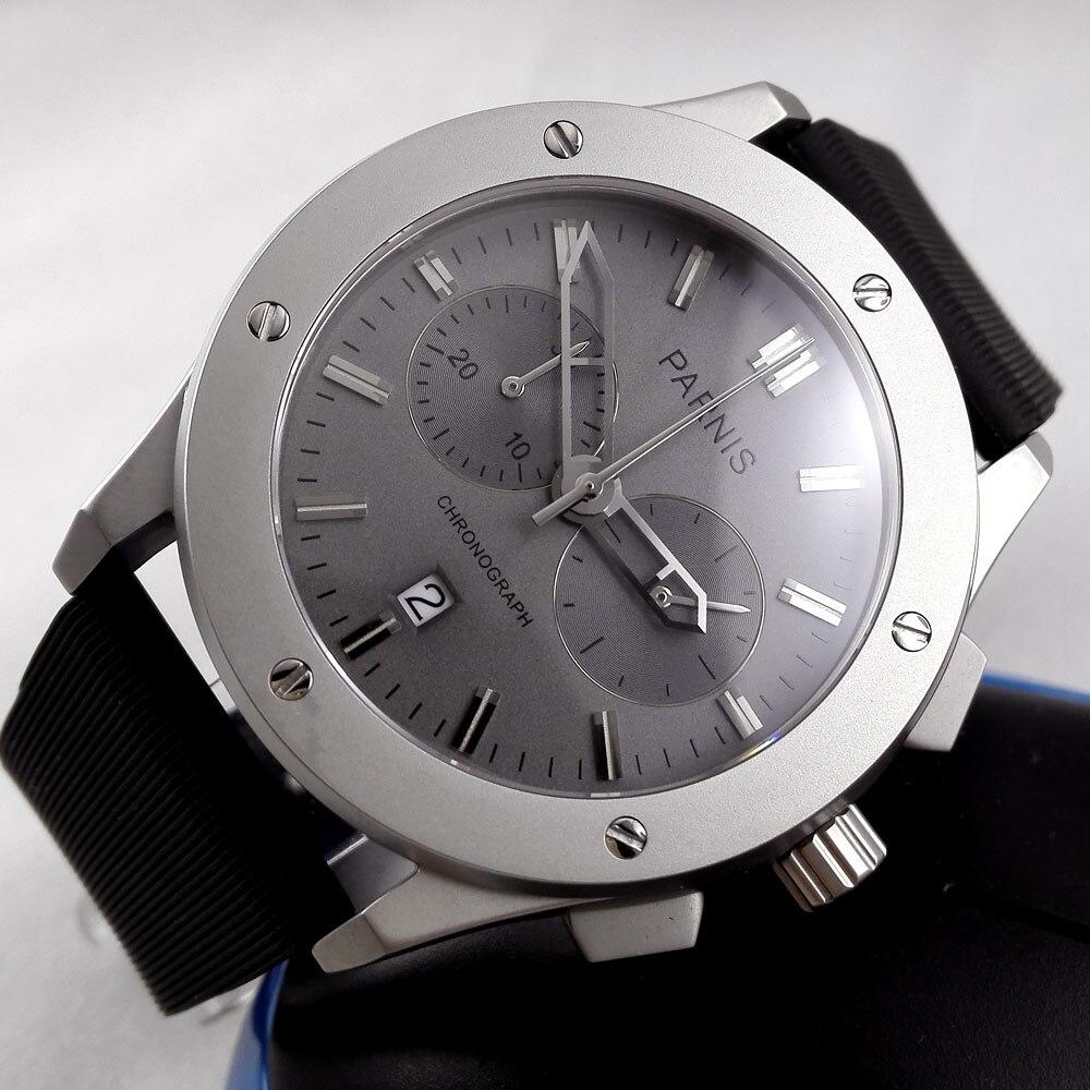 44 мм parnis серый циферблат sandblast чехол окошко даты Резиновый Ремешок развертывания кварцевый механизм Хронограф Мужские наручные часы