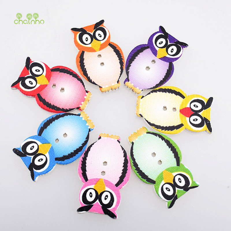 30pcs 2 Hole Mixed Owl Wood Buttons Decor Crafts Sewing Scrapbooking 33x28mm