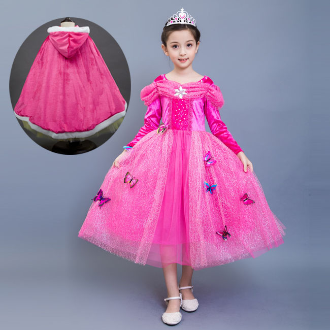 Children Princess Sleeping Beauty Cinderella Costume Halloween with Girls Capes Party Outfits Long Sleeve Fall Girls Party Dress