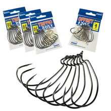10pcs 1 pack POHU Size 12 10 8 5 4 3 2 2/0 1/0 3/0 4/0 Crank Worm Carbon Steel Soft Baits Lures Offset Hooks Fishing
