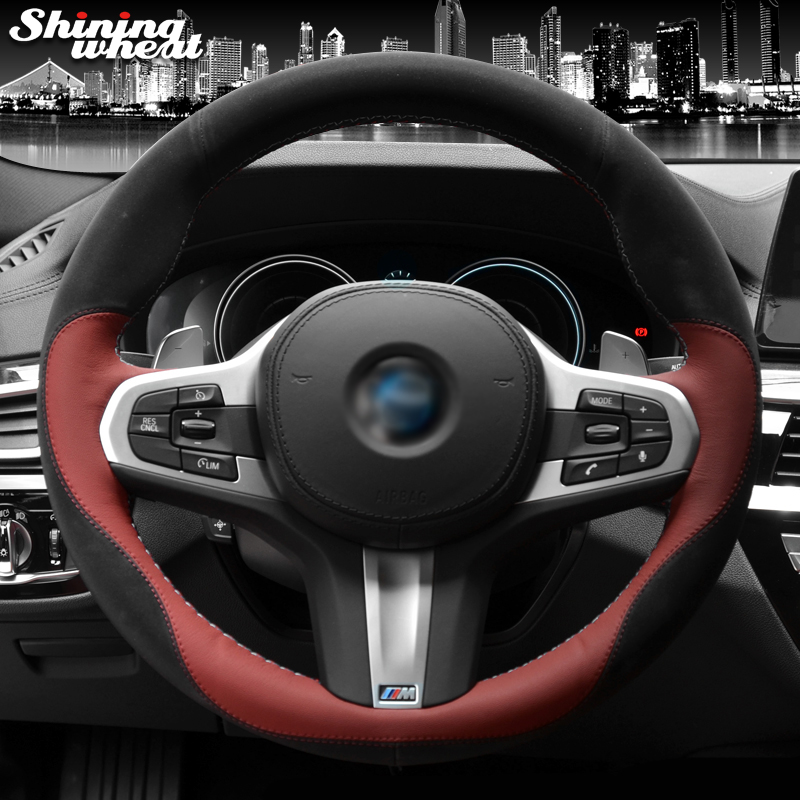 Shining wheat Black Suede Red Leather Car Steering Wheel Cover for BMW G30 525i 530i 530d M550i M550d 2017 2018 G32 630i 640i M цена