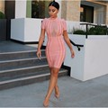 2017 Brand New Fashion Women Winter Dress Short Sleeve Mesh Bodycon Bandage Dresses Hight Neck Sexy Evening Party Dresses