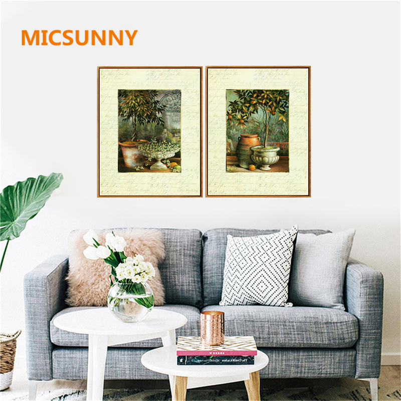 MICSUNNY Nordic Orange Trees Oil Art Paintings On Print Living Room Poster Pictures Home Wall Art Decorations Home Office Decor