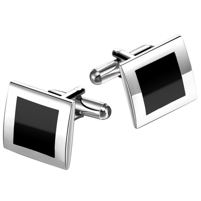 Charm Rectangle Black Enamel Music Mens Dress Cufflinks Jewelry Wholesale Jewelry & Accessories Tie Clips & Cufflinks