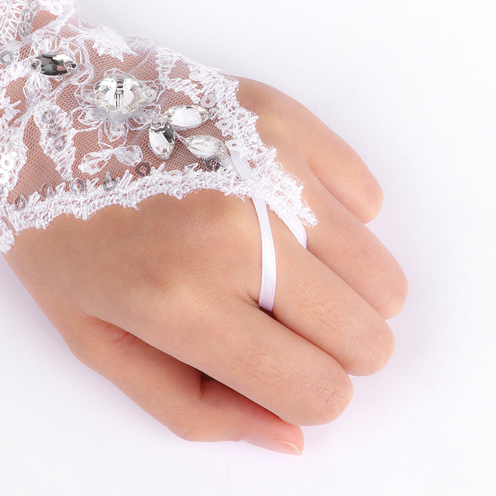9797586a5f2 1 pair White Popular Fashionable Lace Beads Rhinestone Fingerless Gloves  Dress Bride Wedding Short Gloves Arm Warmers mangas-in Arm Warmers from  Apparel ...