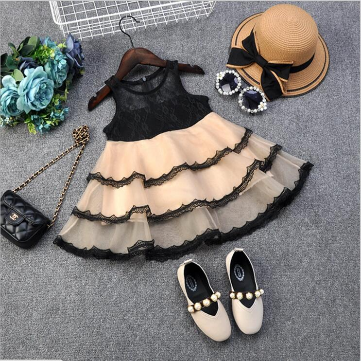 Toddler Girl Black Lace Dress Children Cake Tutu Princess Party Gown Lids Clothing Summer Fashion Vestido