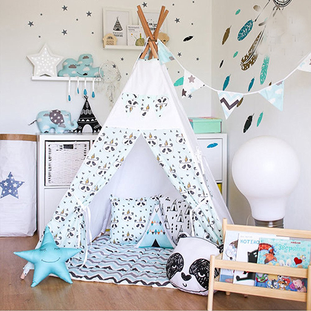 Fessyc@New small panda design indian teepee childrenu0027s indoor princess dollhouse games tent house Indian  sc 1 st  AliExpress.com & Fessyc@New small panda design indian teepee childrenu0027s indoor ...