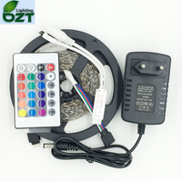 Upgrade More Brighter Than Old 3528 SMD RGB LED Strip 5M 300Led 24Key Remote Controller 2A