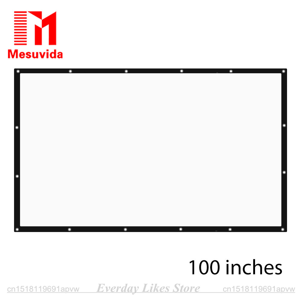 100 inch 16 9 HD Projector Screen Portable Folded Tabletop Projection Screen with Eyelets without Frame