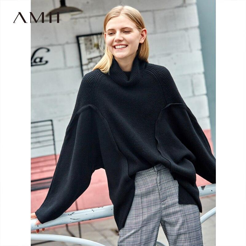 Amii Minimaliste Col Roulé Chandail Femmes Automne Hiver Épais 2018 de Causalité Solide Patchwork Manches Chauve-Souris tricoté pull chandail