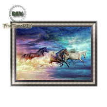 FineTime Horses 5D DIY Diamond Painting Partial Round Drill Diamond Embroidery Animal Cross Stitch finetime 5d horses