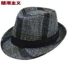 Otoño Invierno Retro Classic Plaid Fedora Hat para Mujeres de Los Hombres  encabezamiento Feminino Masculino Trilby Panamá Sombre. 57df29ddba6