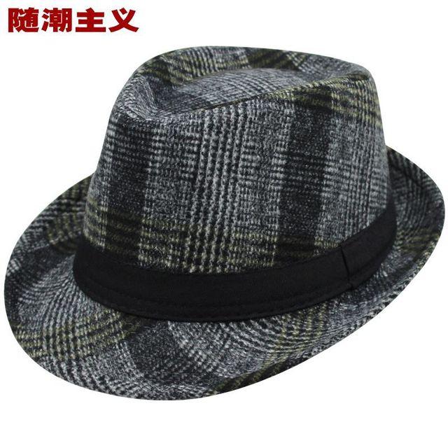 d541986bcddd36 Autumn Winter Classic Retro Plaid Fedora Hat for Women Men Chapeau Feminino  Male Trilby Panama Hat Casual Unisex Adult Jazz Cap
