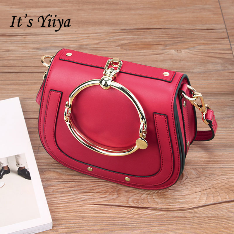 It's YiiYa Hot 5 Colors Genuine Leather Women HandBag Vintage Ring Saddle Bag Lady Style Quality Messenger Bags DDY066 sa212 saddle bag motorcycle side bag helmet bag free shippingkorea japan e ems