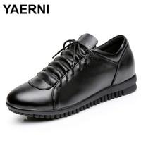 YAERNI Spring Autumn Brand Genuine Leather Flat Women Shoes Lace Up Black Brown Pleated Non Slip