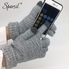 Sparsil зимние Новые Волшебные вязаные перчатки с сенсорным экраном, утолщенные перчатки на все пальцы, теплые перчатки, Стрейчевые вязаные варежки для мужчин и женщин