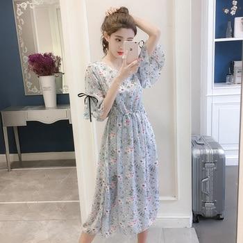 142e446fd5c9e08 Product Offer. Женское шифоновое платье 2019 весна лето модное женское  элегантное винтажное платье с цветочным принтом с коротким рукавом ...