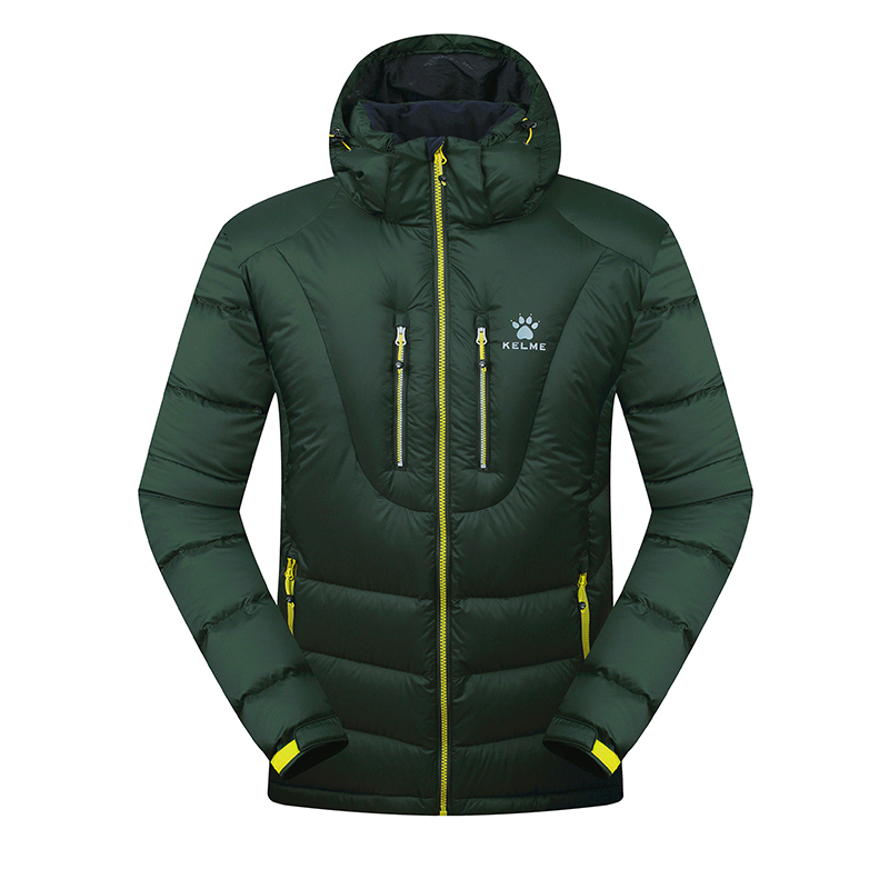 Kelme K46C5037 Men Long Sleeve Hooded Windproof Keep Warm Cotton Outdoor Sport Medium-long Down Jacket Dark Green