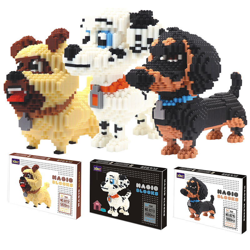 Challenge Connection blocks Big size Cute Dachshund Model brinquedos Pet Dog Cartoon Building Bricks Kids Toys FOR Children