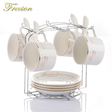 Europe Concise Porcelain Coffee Cup Saucer Spoon Set British Brief Ceramic Tea Cup Advanced Teacup Party Home Drinkware