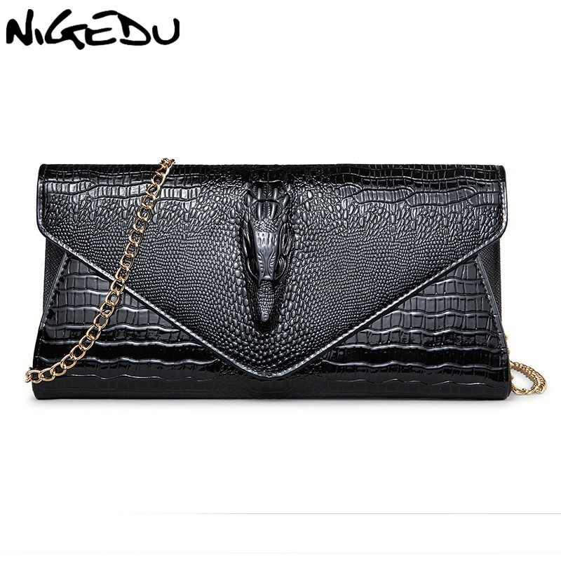 3655d89037f1 Nigedu модный бренд 3D крокодил женщины клатч роскошные Аллигатор женские  вечерние сумки и клатчи цепи женщины