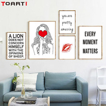 Simple Quotes On LIfe Red Heart Girls Lips Art Canvas  Print Painting Poster Wall Pictures Printable Home Decor No Framed