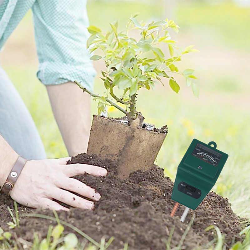 3 w 1 cyfrowy wilgotności gleby światło słoneczne tester miernika pH dla roślin kwiaty kwasowości do pomiaru wilgotności narzędzia ogrodowe 20% off