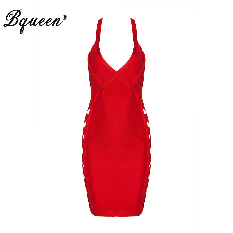 Bqueen 2017 New Sexy Spaghetti Strap V Neck Mini Bandage Dress Women Female Solid Hollow Out Bodycon Party Dresses Black Red