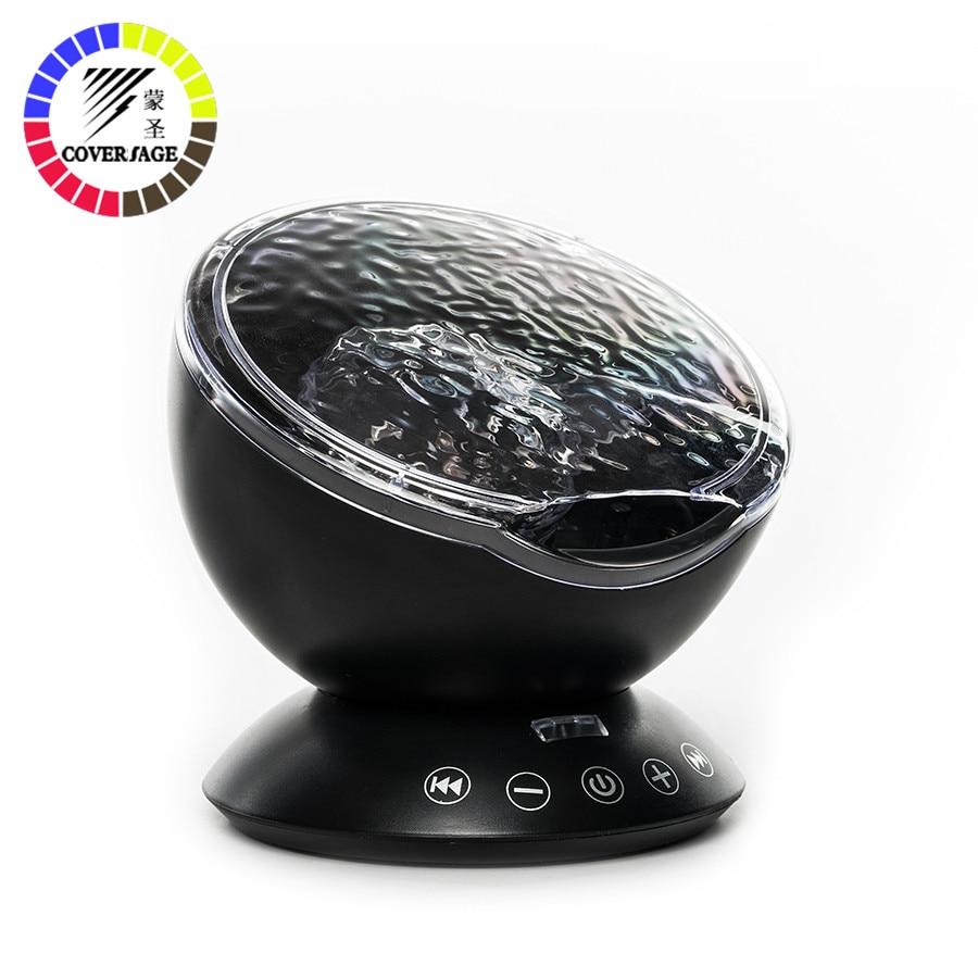 Coversage LED noche luz Ocean Wave proyector con Control remoto USB TF altavoz reproductor de música Aurora maestro proyección