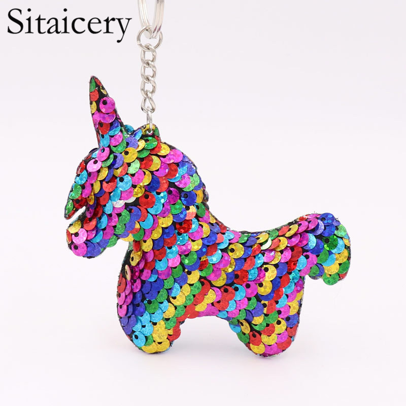 Sitaicery Sequin Unicorn Keychain Brelok Cute Key Chain Charms On The Backpack Woman's Accesories Christmas Key Ring For Keys