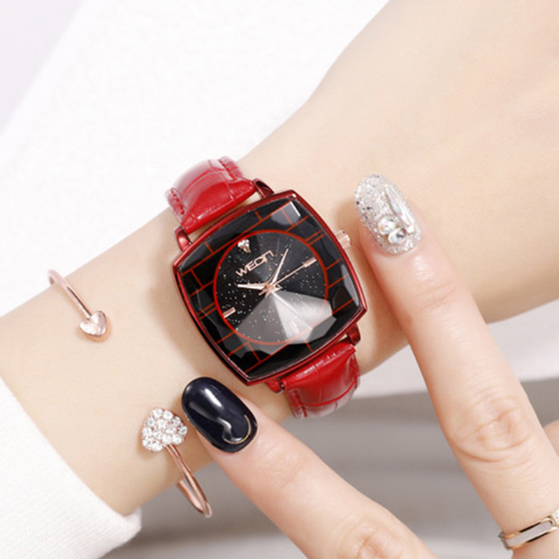 Square Ladies Wrist Watches Starry Sky Female Clock Leather Quartz Watch Elegant Women Watches Bracelet Watch Montre Femme 2019