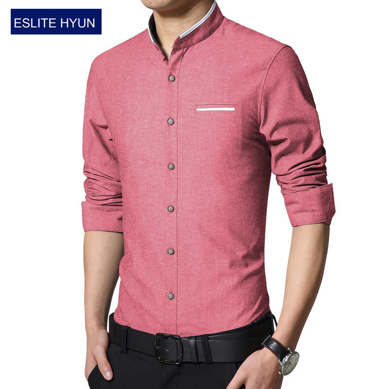 3f1453968749 2018 New Oxford Fashion Dress Men Shirt Slim Fit Long Sleeve Male Social Casual  Shirts Camisa