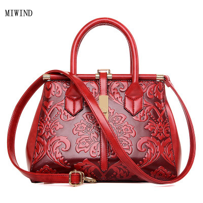 Фотография MIWIND Free Shipping Women Embossed Leather Handbag Vintage Shoulder Bag Chinese Style Messenger Bags Ladies Bolsos Mujer TYY166