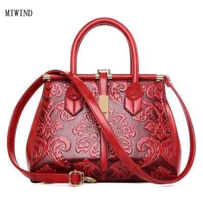 MIWIND livraison gratuite femmes en relief en cuir sac à main Vintage sac à bandoulière Style chinois Messenger sacs dames Bolsos Mujer TYY166