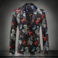 New arrival europe and america style fashion butterfly print velvet blazer men costume homme men's clothing sze m-3xl /XF40-14