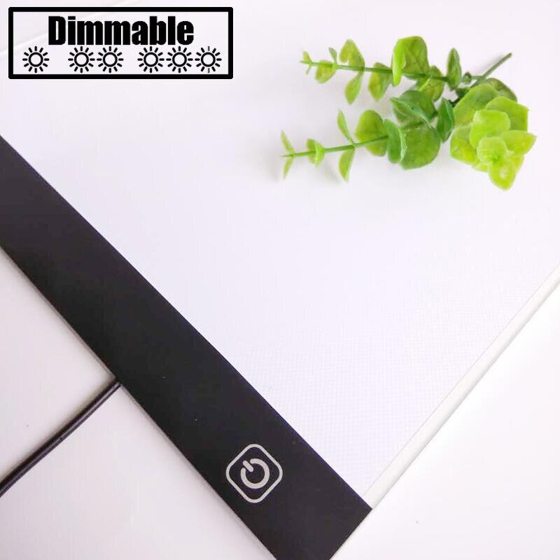 Toque de oscurecimiento ultrafino 4mm A4 LED comprimido Pad aplicar para EU/UK/AU/ee.uu./ USB Plug diamante bordado diamante pintura