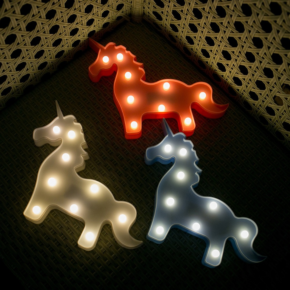 Lovely Unicorn Animal LED 3D Light Night Light Kids Gift Toy For Children Bedroom Party Home Decoration Lamp Indoor Lighting ...
