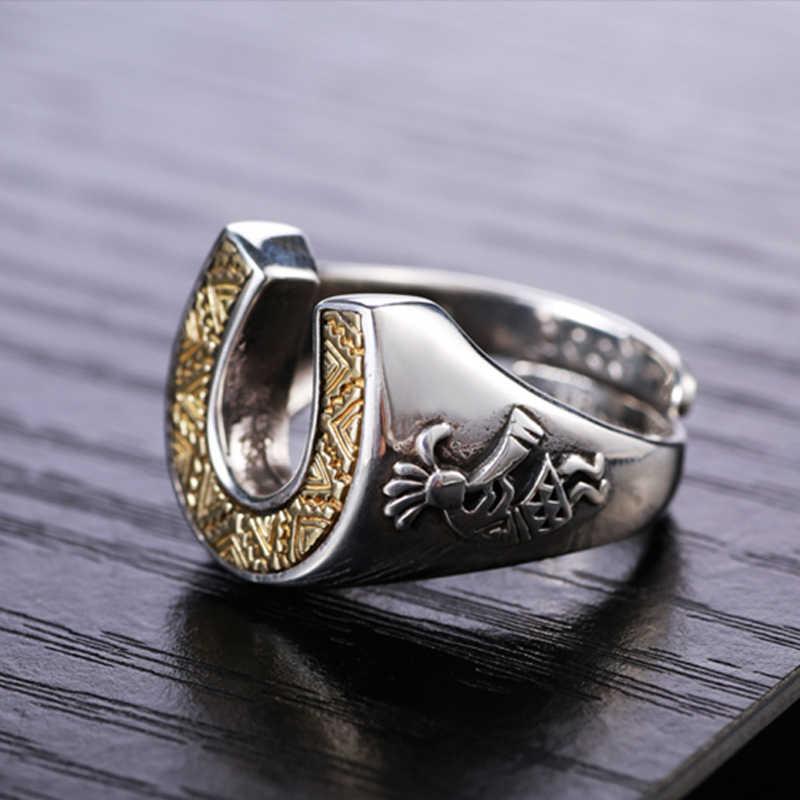 Zabra Solid 925 Sterling Zilver Horseshoe Indians 14 Mm Breed Steampunk Opening Ringen Voor Mannen Vrouwen Vintage Retro Mannelijke Jewlery