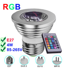E27 RGB LED Lamp 4W MR16 GU10 GU5.3 LED Spotlight 85-265V LED RGB Light Bulb High Power 16 Color IR Remote Controller