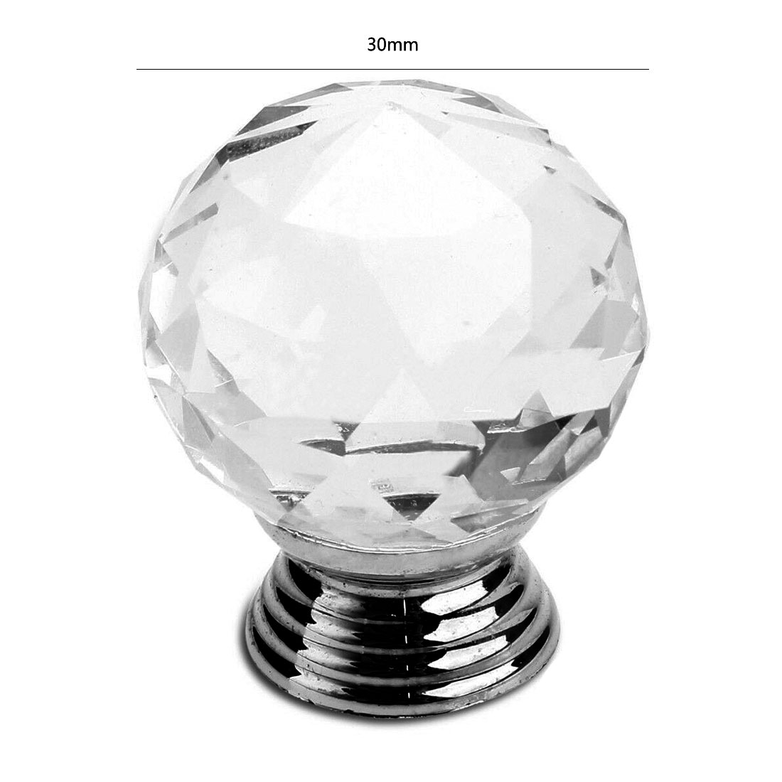 32x Crystal Door Knobs Handles Clear Glass Cupboard Drawer Cabinet Kitchen Knobs Sfhs Org