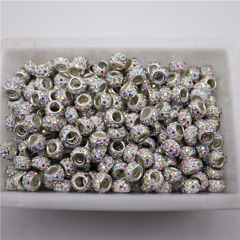 20 pcs Lot 5mm Big hole crystal beads rhinestone murano spacer bead charms fit for pandora bracelet necklace DIY jewelry making(China)