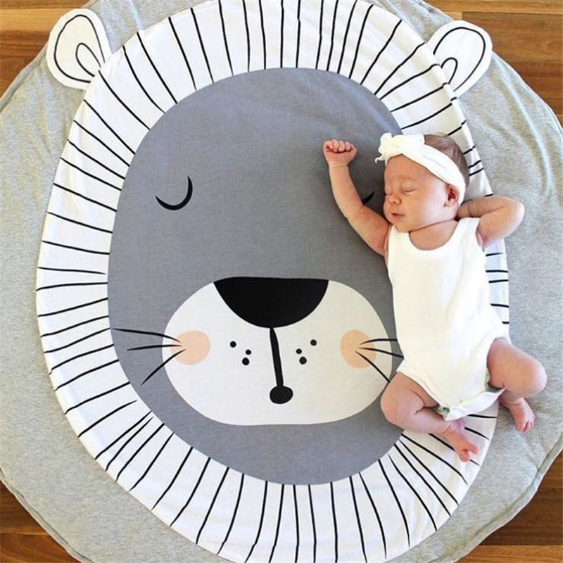 Nordic Style Cartoon Animals Lion Face Quilted Play Mats Baby Blanket Carpet Rug Kids Bed Room Decor Photo Props