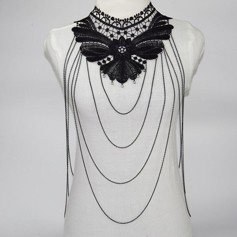 Black Lace Chain necklace Women Statement Necklaces 2017 statement Necklace Collar Femme Colier Trendy