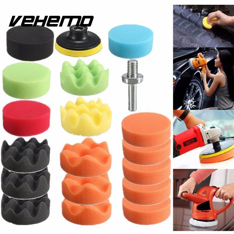 цена на Vehemo 19Pcs Car Vehicle 80mm Polishing Buffer Pad Car Polishing Sponge Kit +Polishing Wheel+M10 Drill Adapter Car Polisher Set