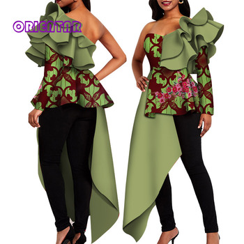 African Print Clothes for Women Sexy One Shoulder African Shirt Swallowtail Bazin Riche Patchwork African Style Clothing WY4814