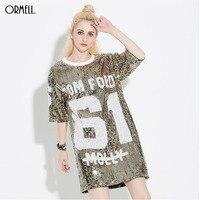 ORMELL Women Loose Long Letters Print Glitters T Shirt Half Sleeve Shirt Dress Femininas O Neck