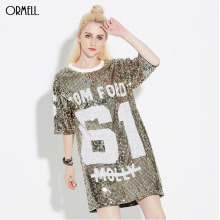 Women's Loose Long Letters Print Glitters T Shirt