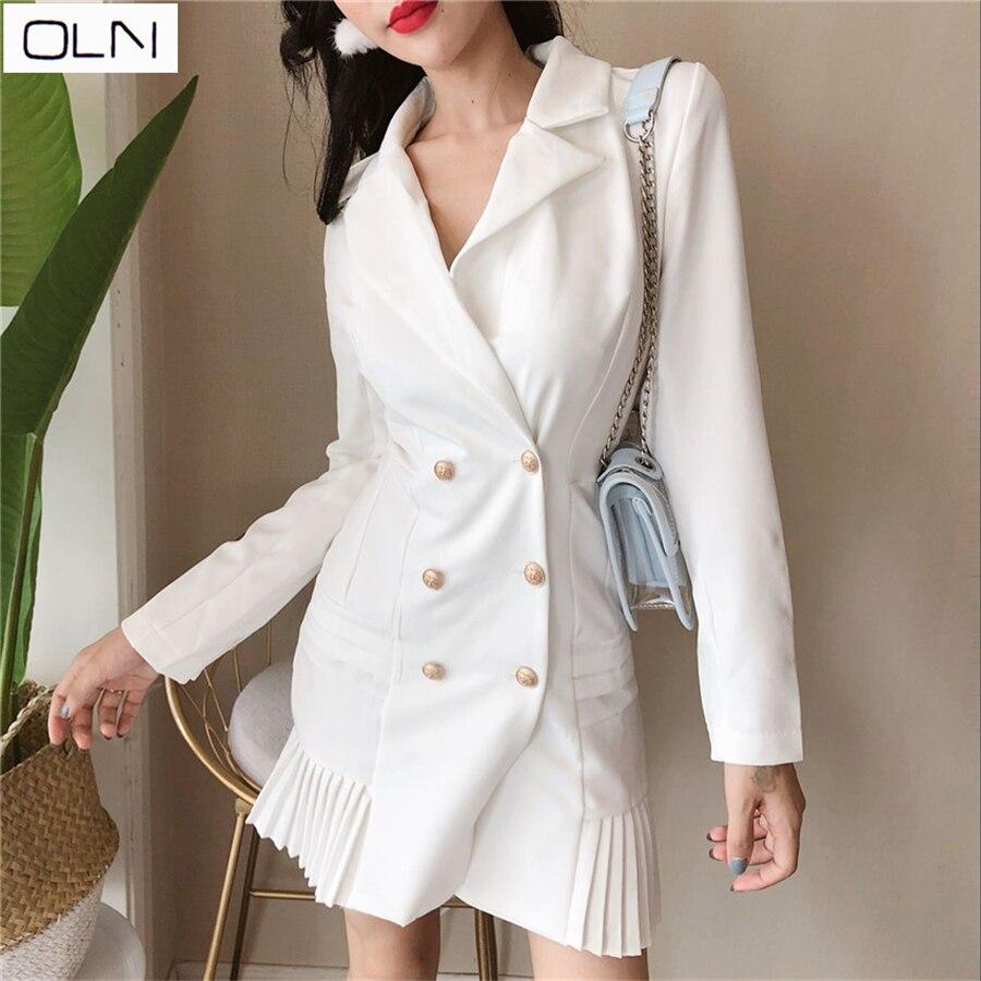 Elegant Ruffle Double Breasted Women Dress Office Casual Blazer White Dress 2019 Spring Summer Slim Suit Ladies Dresses