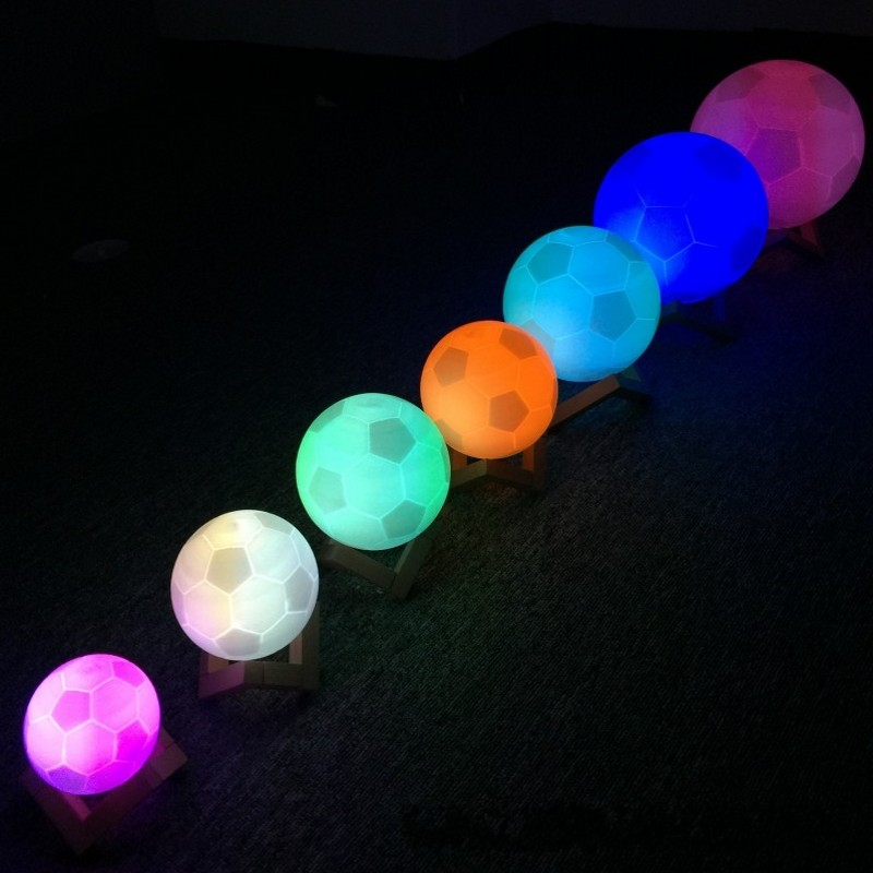 FENGLAIYIUSB USB Commemorate Football 7 Color Change Hand Pate LED Night Light Bedroom Decoration Gift Ambiance Lamp